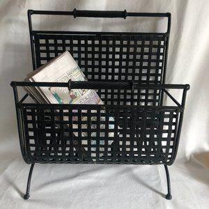 Mid-Century Modern wrought iron magazine rack